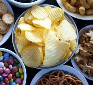 Platter of snacks and chips