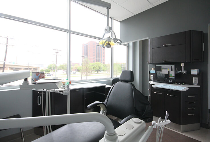 Rear view of dental examination room